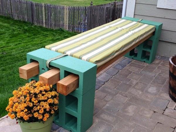 DIY Cinder Block Bench In The Garden Creative Ideas For