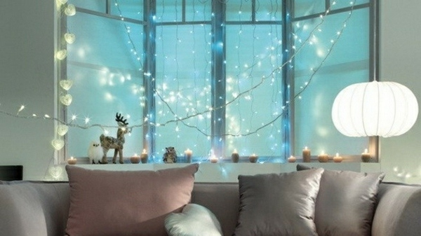 Christmas Decorations Simple Window Decor String Lights Lanterns and Candles