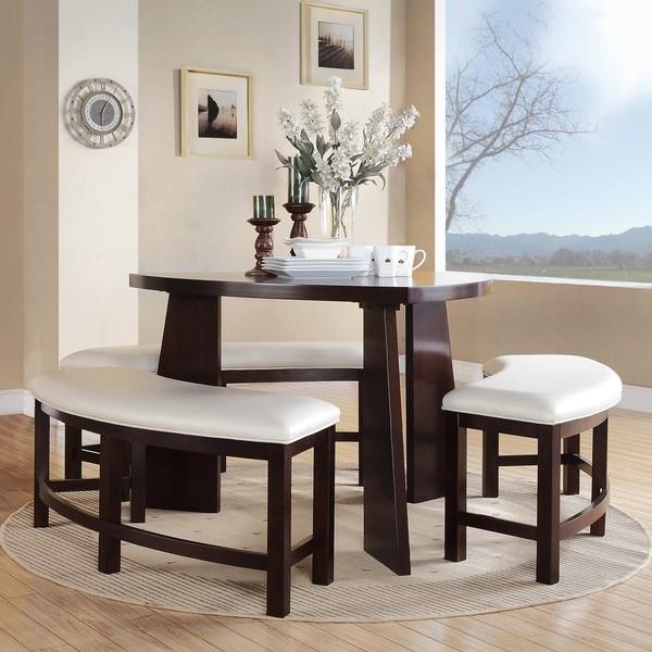 muebles de comedor triángulo establecido bancos de madera