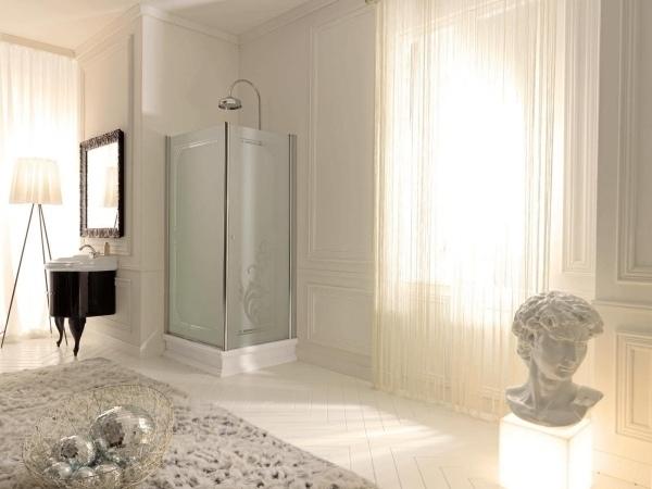 diseño elegante baño ideas de la ducha de esquina de vidrio colores neutros
