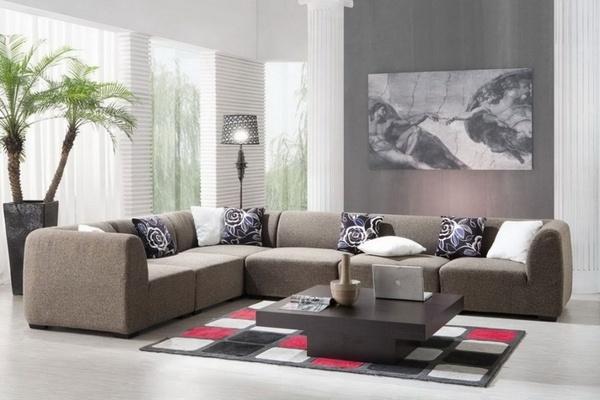 gris de la pared de acento Ideas salón sofá seccional mesa baja de café