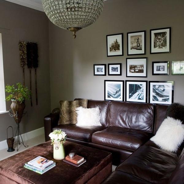 gris y marrón pequeña sala de estar sala de estar Ideas paredes grises sofá de cuero marrón
