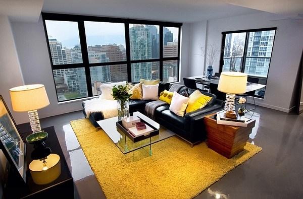 gris y amarillo ideas de salón hogar ideas contermporary sofá de cuero negro
