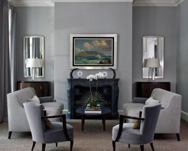grises salas de estar Ideas muebles de color gris espejos de pared sillones conjunto chimenea