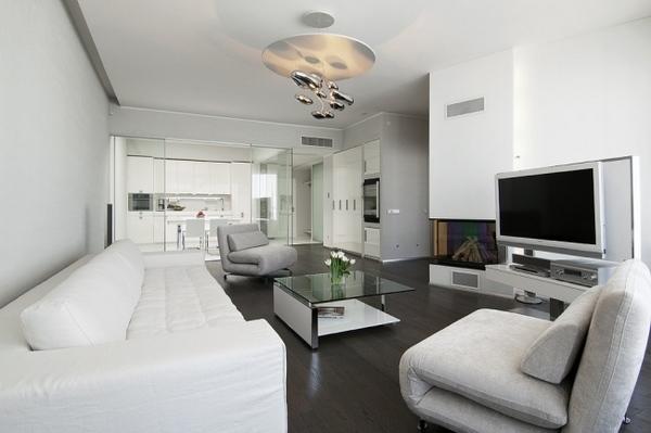 moderna sala de estar gris y blanco sofá blanco mesa de café de vidrio gris sillones
