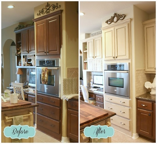 Kitchen Cabinets Painted With Chalk Paint Before After Kitchen