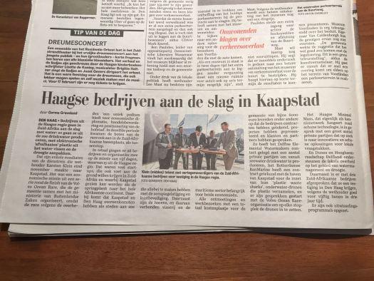 newspaper: Haagse bedrijven aan de slag in Kaapstad