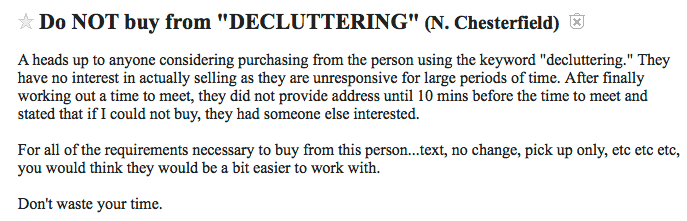 Decluttering selling your stuff on craigslist