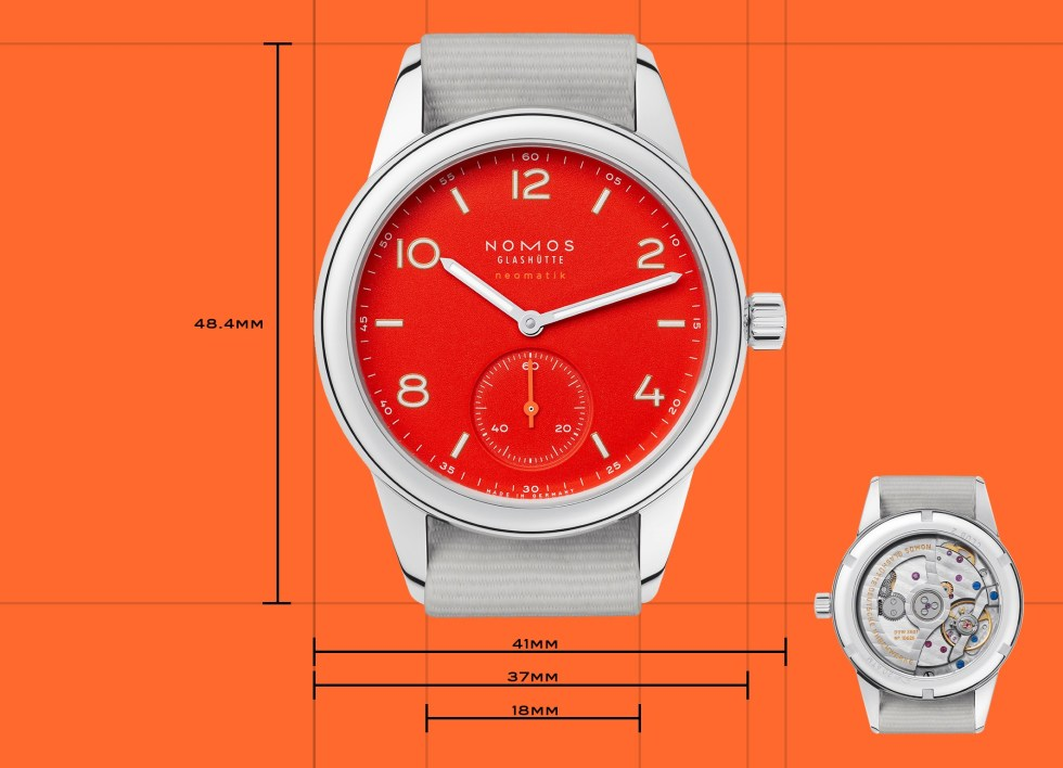 the size and dimensions of the nomos club neomatik watch
