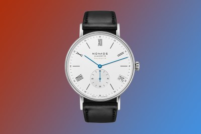 nomos ludwig neomatik date watch with silver dial