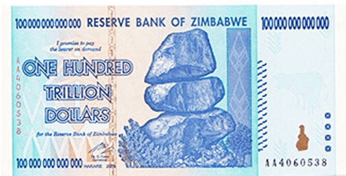 Look what's happening to gold priced in other currencies - Zimbabwe bill