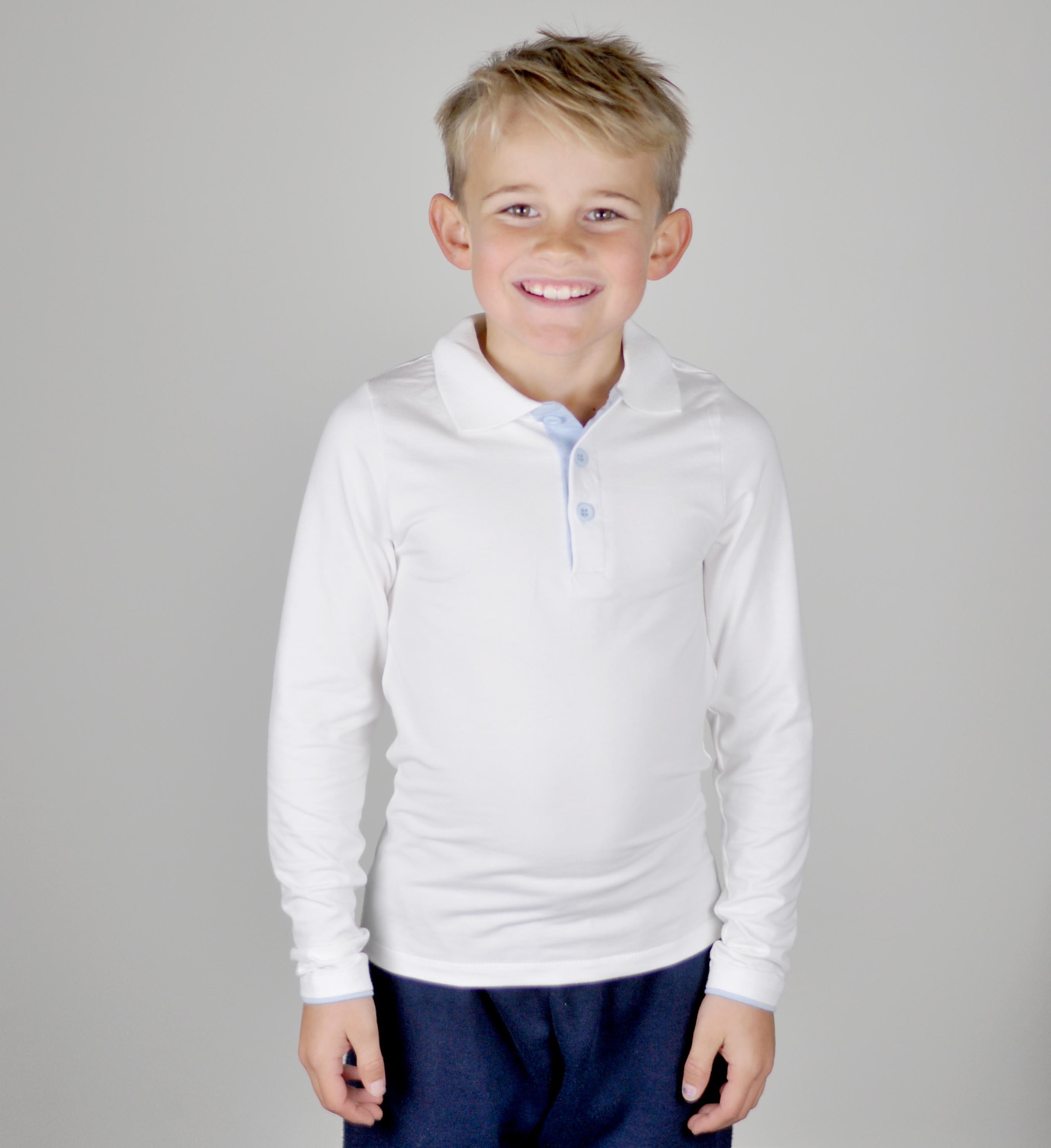 Skjortegenser - hvit med lyseblå - modell3