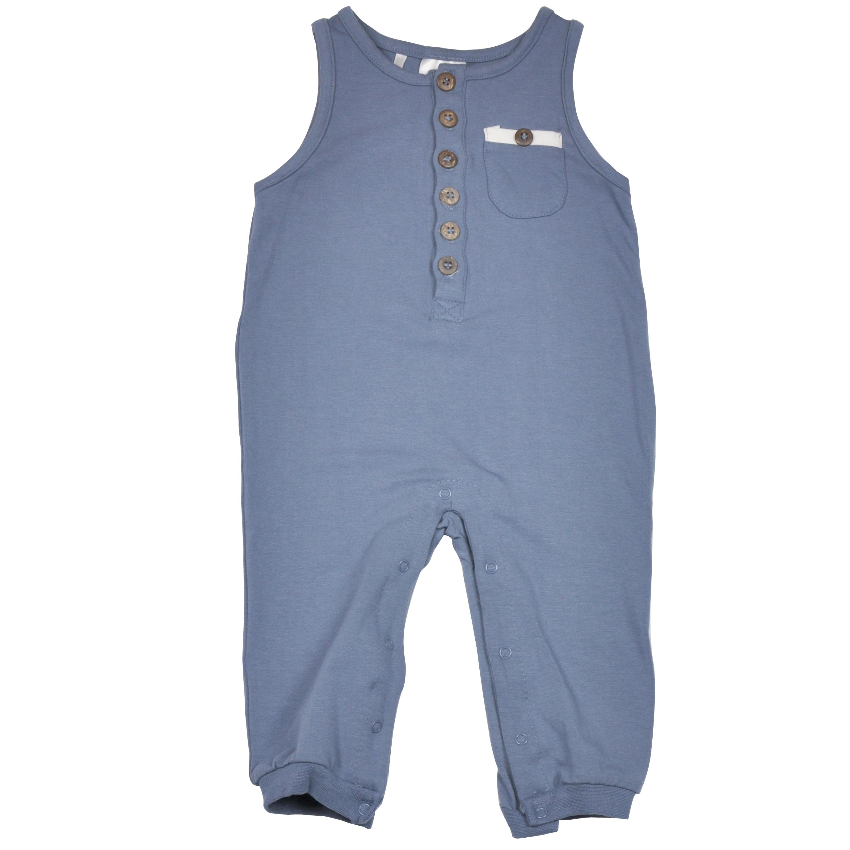 Støvet blå jumpsuit foran