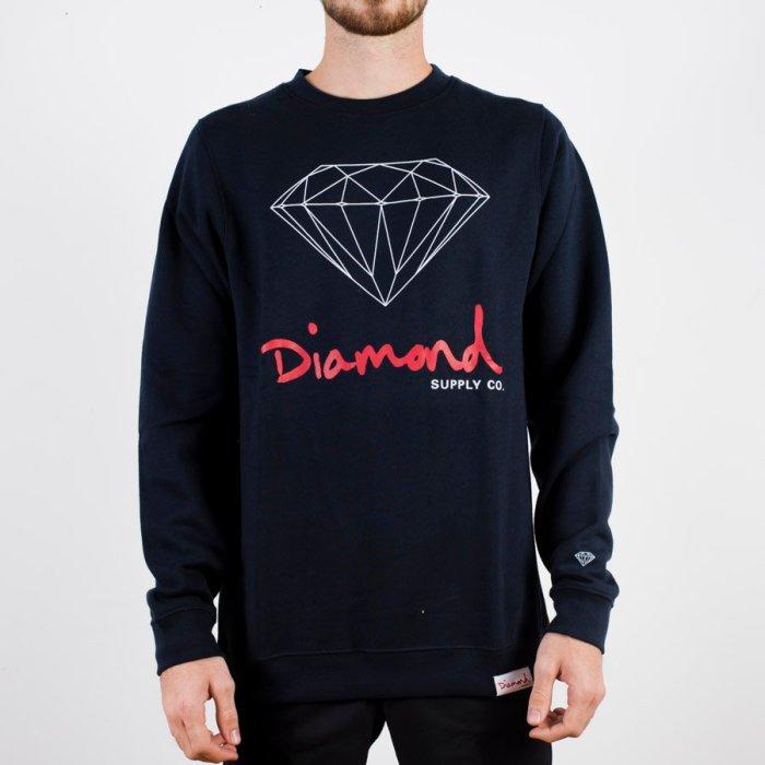 DIAMOND OG SIGN CREWNECK NAVY