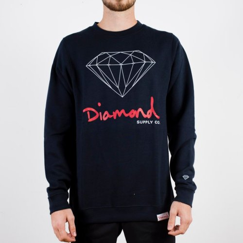 DIAMOND OG SIGN CREWNECK NAVY