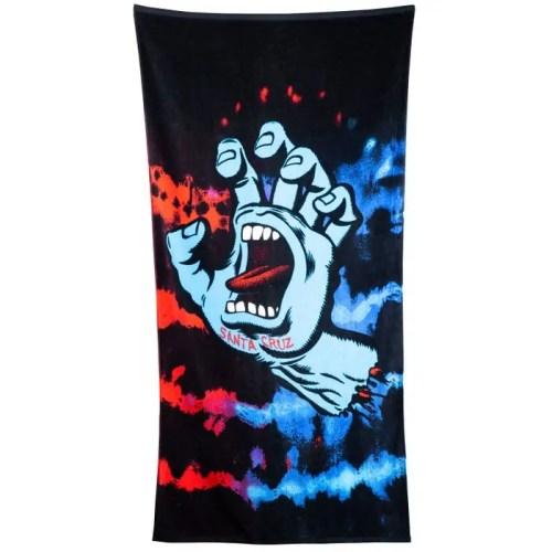 SANTA CRUZ SCREAMING HAND TIE DYE TOWEL RED BLUE