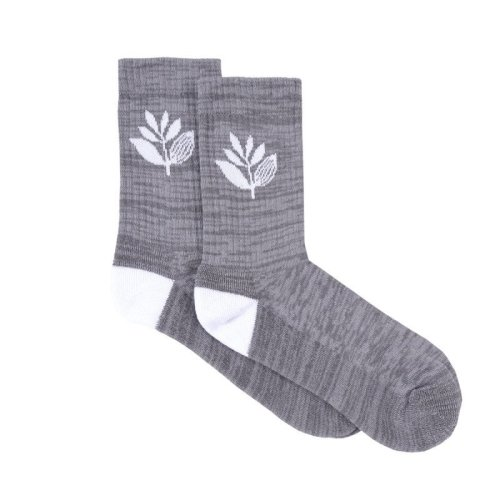 MAGENTA PLANT SOCKS HEATHER GREY