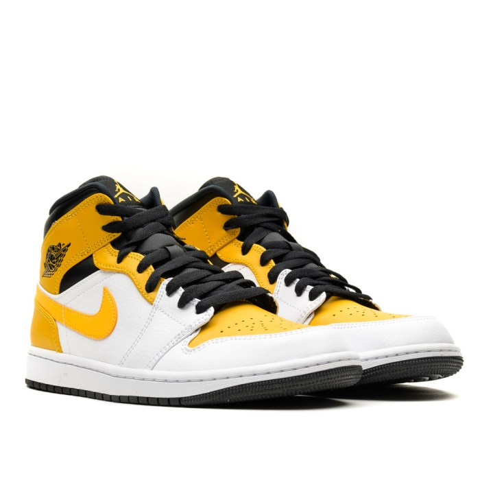 AIR JORDAN 1 MID WHITE UNIVERSITY GOLD BLACK 3