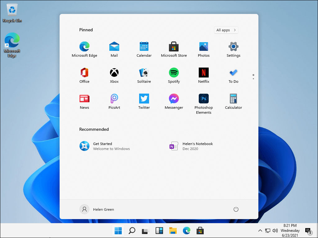Windows 11 Start menu in the center
