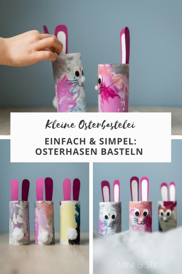 Kleine Osterbastelei: Osterhasen basteln mit Kindern aus Klopapierrollen #basteln #bastelnmitkindern #ostern #osterhase #osterdeko