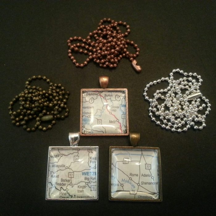 square map necklace