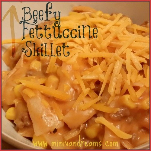 beefy fettuccine skillet via mini van dreams