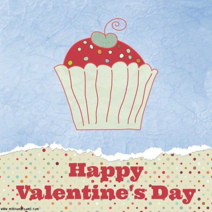 free printable valentines at mini van dreams - cupcake