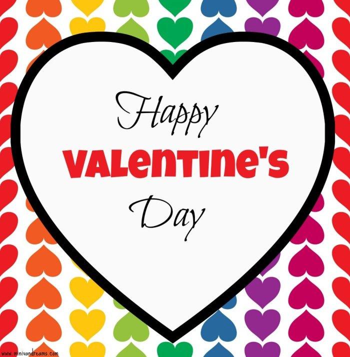 free printable valentines at mini van dreams - rainbow heart