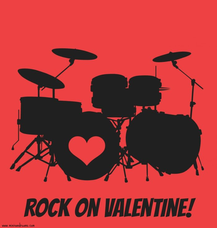 free printable valentines at mini van dreams - drum set rock on