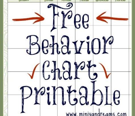 Behavior Chart Free Printable via Mini Van Dreams
