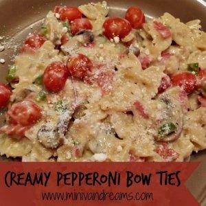 Creamy Pepperoni Bow Ties via Mini Van Dreams #easyrecipes #recipes