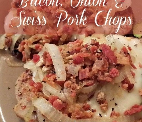 Bacon, Onion and Swiss Pork Chops via Mini Van Dreams #easyrecipes #tastytuesdays #recipesforpork #cleaneating