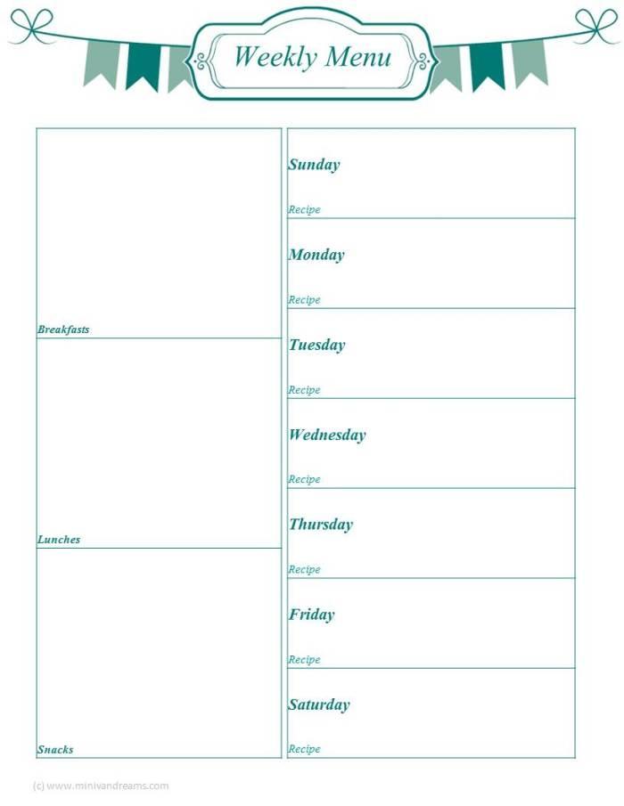 Menu Planning Binder Series via Mini Van Dreams