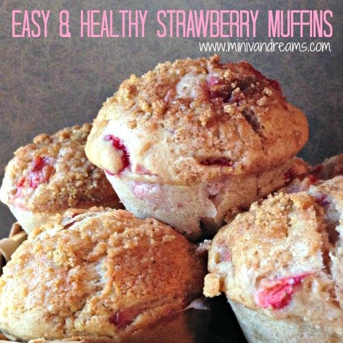 Easy & Healthy Strawberry Muffins via www.minivandreams.com