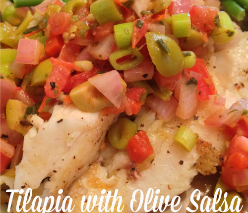 Tilapia with Olive Salsa via Mini Van Dreams #ticklemytastebuds #recipesforfish #cleaneating #easyrecipes