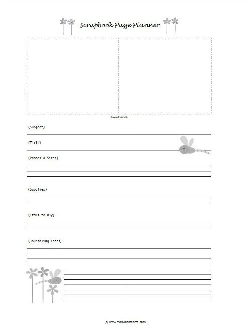 Free Scrapbook Page Planner | Mini Van Dreams
