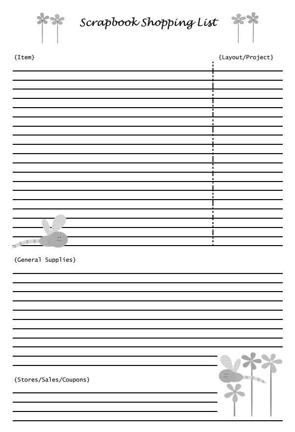 Scrapbooking Shopping List | Mini Van Dreams