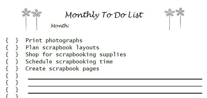 Scrapbooking Monthly To Do List | Mini Van Dreams