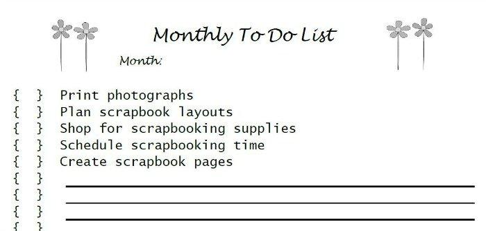 Scrapbooking Monthly To Do List | Mini Van Dreams
