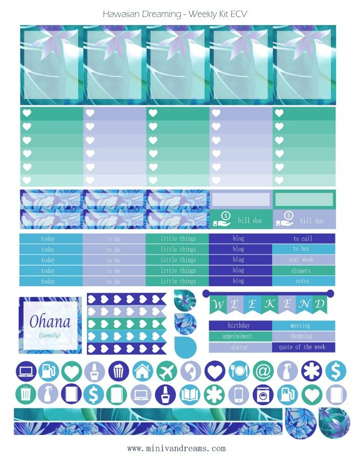 Free Printable Planner Stickers - Hawaiian Dreaming | Mini Van Dreams