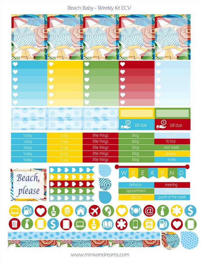 Free Printable Planner Stickers - Beach Baby | Mini Van Dreams