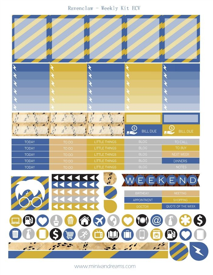 Free Printable Planner Stickers - Ravenclaw