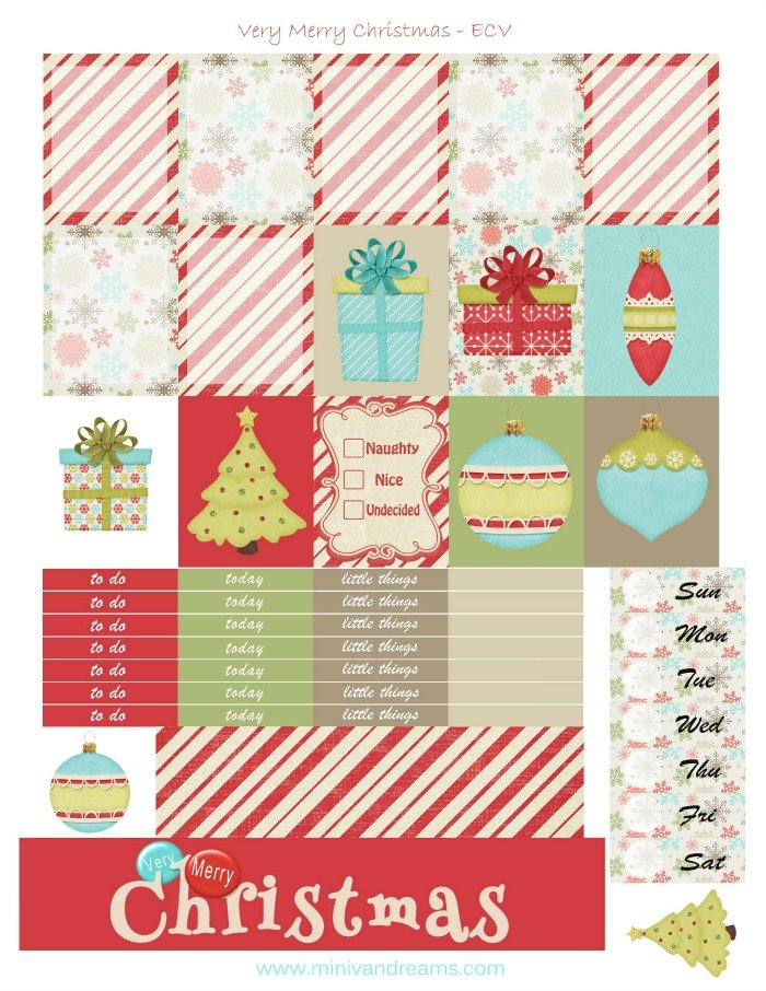 Free Printable Planner Stickers: Very Merry Christmas