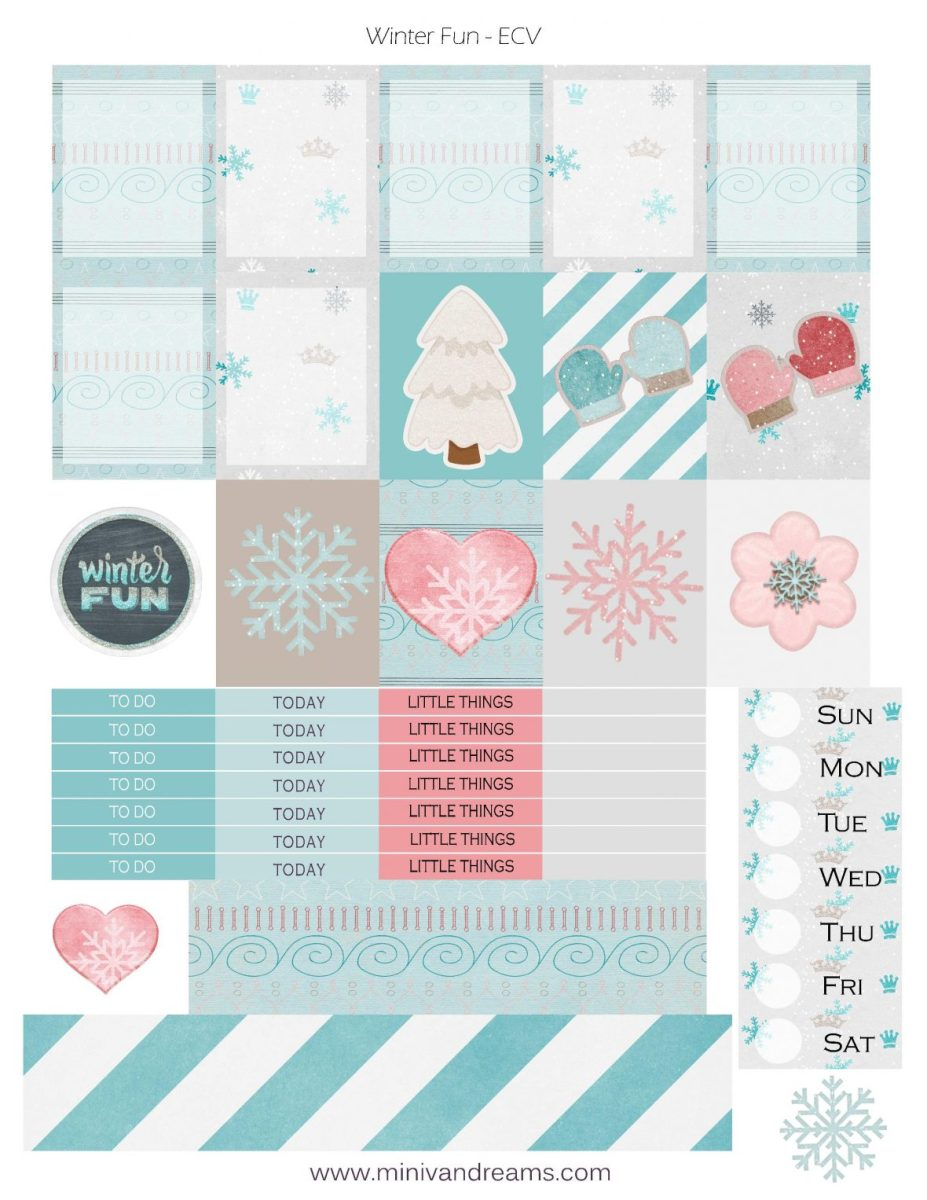 Free Printable Planner Stickers - Winter Fun
