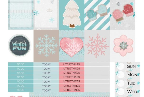 Free Printable Planner Stickers: Winter Fun | Mini Van Dreams