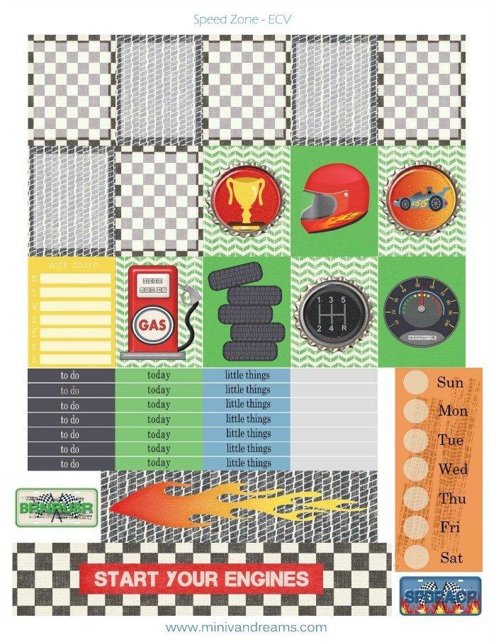 Free Printable Planner Stickers: Speed Zone | Mini Van Dreams