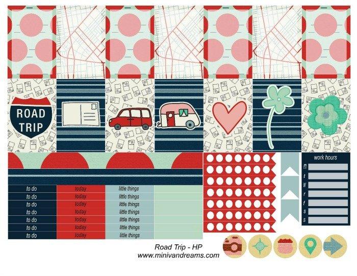 Free Printable Planner Stickers: Road Trip (ECV & HP) | Mini Van Dreams