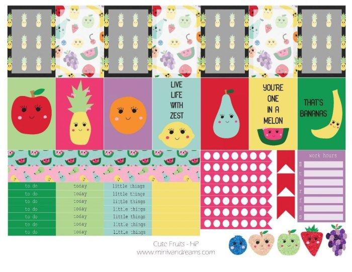 Free Printable Planner Stickers: Cute Fruits | Mini Van Dreams