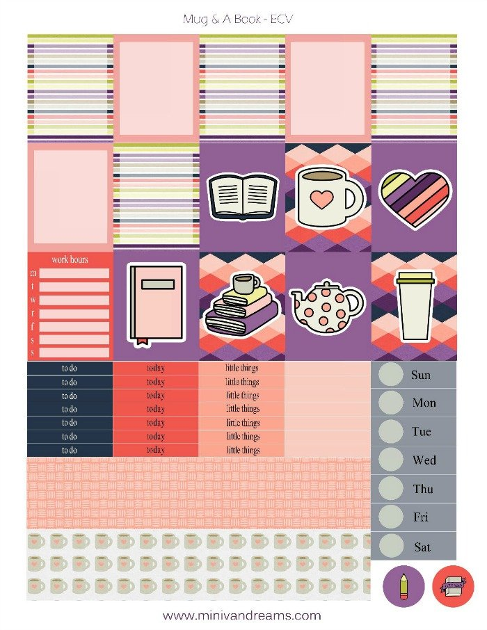 Free Printable Planner Stickers: Mug and a Book   Mini Van Dreams