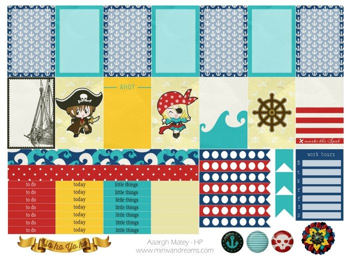 Free Planner Stickers: Aargh Matey!   Mini Van Dreams